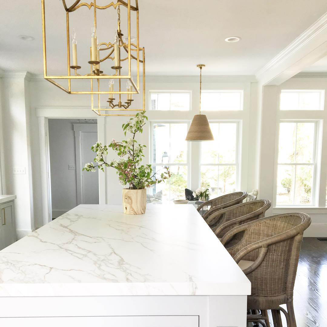 Stone countertops are in. In fact, they're the top item to splurge on because everyone loves a clean kitchen.